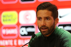 June 4, 2018 - Lisbon, Portugal - Portugal's midfielder Joao Moutinho attends a press conference before a training session at Cidade do Futebol (Football City) training camp in Oeiras, outskirts of Lisbon, on June 4, 2018, ahead of the FIFA World Cup Russia 2018 preparation match against Algeria. (Credit Image: © Pedro Fiuza/NurPhoto via ZUMA Press)