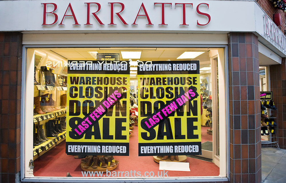 London Feb 19 The administrators of Stylo, which owns the Barratts and PriceLess chains of shoe shops, is closing 220 stores with the loss of 2,500 jobs...***Standard Licence  Fee's Apply To All Image Use***.Marco Secchi /Xianpix. tel +44 (0) 845 050 6211. e-mail ms@msecchi.com or sales@xianpix.com.www.marcosecchi.com