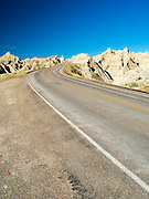 View of Badlands National Park along SD Route 240 on an early spring day; South Dakota, USA.