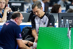 Injured referee during basketball game between National basketball teams of F.Y.R. of Macedonia and Russia of 3rd place game of FIBA Europe Eurobasket Lithuania 2011, on September 18, 2011, in Arena Zalgirio, Kaunas, Lithuania. (Photo by Vid Ponikvar / Sportida)