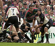 © Peter Spurrier / Sportsbeat images<br />email images@sportsbeat.co.uk - Tel +44 208 876 8611<br />Photo Peter Spurrier 02/05/2003<br />2003 - Zurich Premiership Rugby - Leicester Tigers v London Irish<br />Chris Sheasby clears the ball form the ruck.