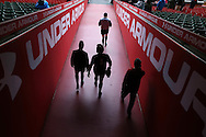 Wales players walk out of the tunnel for the Wales Rugby captains run, ahead of tomorrows RBS Six nations match against England. Principality Stadium, Cardiff, South Wales on Friday 10th Feb 2017.   pic by  Andrew Orchard, Andrew Orchard sports photography.