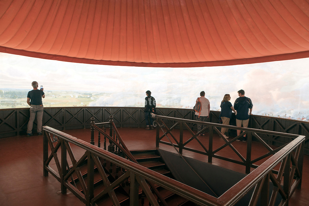 inside the Waterloo battlefield Panorama museum at Braine-l'Alleud, Belgium with the 360° painting of the battle