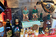 Window display  cultural pub items and bottles, the Temple Bar, city of Dublin, Ireland, Irish republic