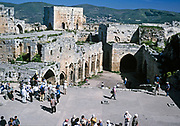 Krak des Chevaliers crusader castle, Syria in 1998 - Swan Hellenic British tour group
