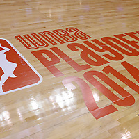 24 August 2014: Close view of the WNBA 2014 Playoffs logo on the court during the Phoenix Mercury 93-68 victory over the Los Angeles Sparks, in a Conference Semi-Finals at the Staples Center, Los Angeles, California, USA.