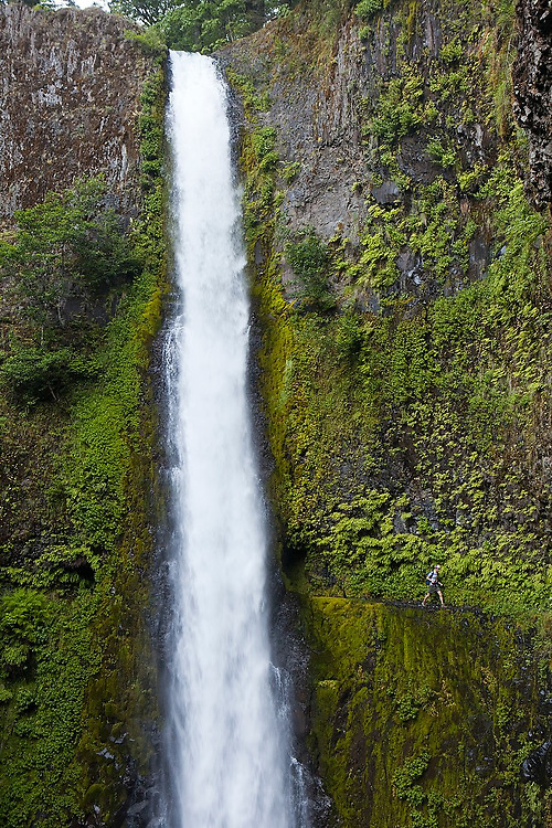 Hiker Hamilton Boyce walks past Tunnel Falls on the Eagle Creek Trail, cut into the basalt cliff behind the waterfall, in Columbia River Gorge National Scenic Area, Oregon.