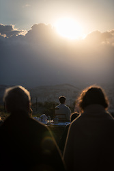 20 April 2019, Jerusalem: The congregation waits for the sun to rise, during Easter Sunday sunrise service at Jabal Allah (God's Mountain) on the Mount of Olives in Jerusalem, held by the Lutheran Church of the Redeemer (English-speaking congregation).