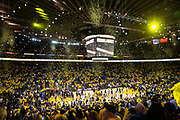 Confetti falls after the Golden State Warriors beat the New Orleans Pelicans at Oracle Arena during Game 2 of the Western Semifinals in Oakland, California, on May 1, 2018. (Stan Olszewski/Special to S.F. Examiner)