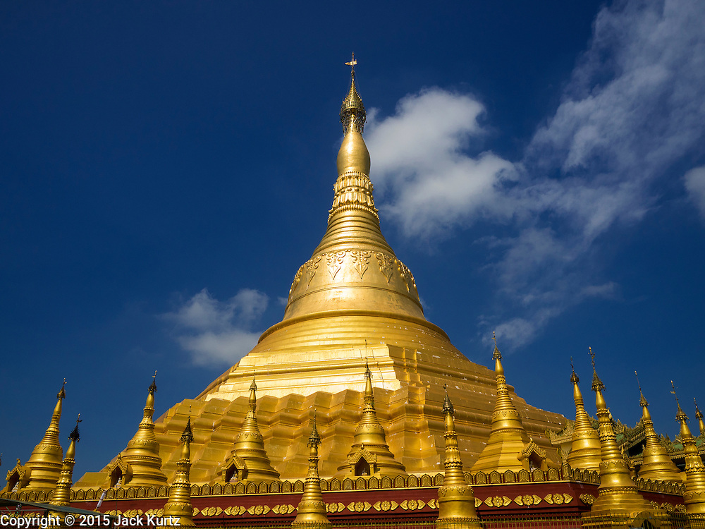 30 OCTOBER 2015 - TWANTE, MYANMAR:  Shwe San Taw Pagoda (Paya) in Twante, also spelled Twantay. The pagoda was established more than 2500 years ago, although constantly rebuilt and renovated. According to Burmese history and local legend, the pagoda houses eight hairs from Gautama, the historical Buddha. PHOTO BY JACK KURTZ