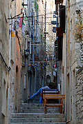 Narrow, stepped streets of Korcula old town. Korcula old town, island of Korcula, Croatia