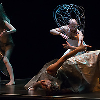 Members of the Collective of Natural Disasters and Rita Gobi Dance Company perform their piece Autonome Zone in Budapest, Hungary on November 20, 2014. ATTILA VOLGYI