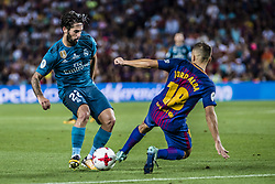 August 13, 2017 - Barcelona, Catalonia, Spain - Real Madrid midfielder ISCO competes with FC Barcelona defender JORDI ALBA for the ball during the Spanish Super Cup Final 1st leg between FC Barcelona and Real Madrid at the Camp Nou stadium in Barcelona (Credit Image: © Matthias Oesterle via ZUMA Wire)