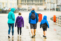 © Licensed to London News Pictures. 21/08/2017. Aberystwyth, UK. Another grey and wet morning at the seaside in Aberystwyth Wales  at the start of the week leading up to the August Bank Holiday weekend. Photo credit: Keith Morris/LNP