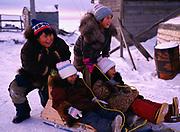 Inupiat children Jason Ahmaogak, Krystle Ahmaogak, Lorraine Tagarook and Sophia Ahmaogak playing on sleds, Wainwright, Arctic Coast of Alaska.