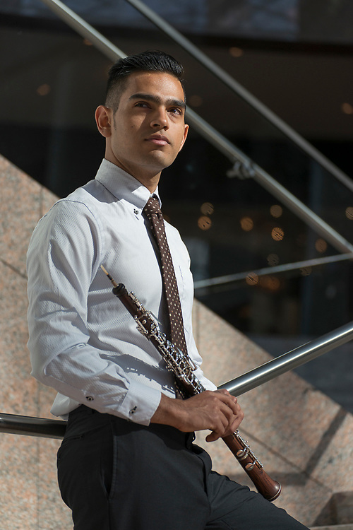 Portrait of an american musician, oboe player