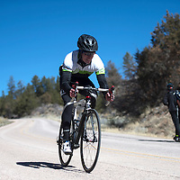 021415      Cayla Nimmo<br /> <br /> Michael Shambarger from Silverthorne Colorado takes off down Mount Taylor for the last leg of the Quadrathalon in Grants Saturday. Shambarger finished second with a time of  4:10:55.