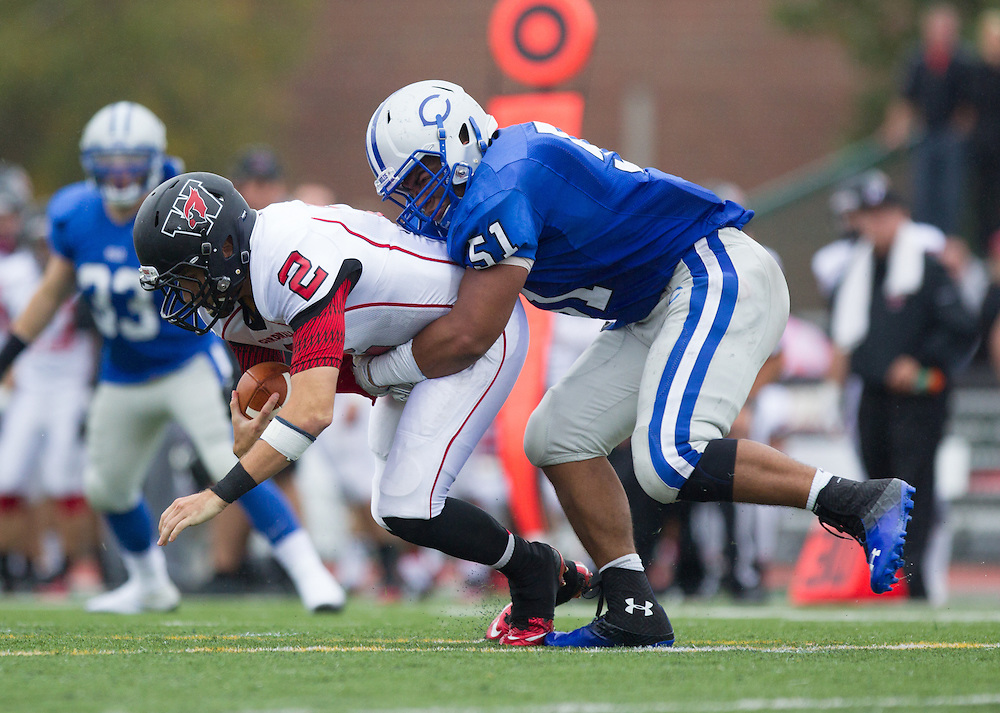 Jack Muntu-Caron, of Colby College, during a NCAA Division III football game on October 4, 2014 in Waterville, ME. (Dustin Satloff/Colby College Athletics)