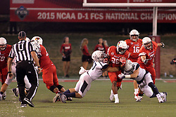 02 September 2017:   James Robinson finds a hole in the middle but is finally stopped by Dylan Banks and Connor Andras during the Butler Bulldogs at  Illinois State Redbirds Football game at Hancock Stadium in Normal IL (Photo by Alan Look)