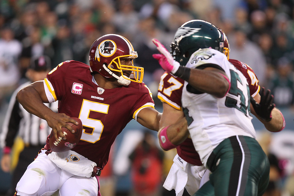 Philadelphia, Oct. 3, 2010 - Redskins vs. Eagles  -  McNabb drops back to pass and avoids the rush.(Photo by Jay Westcott/TBD)
