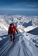 Climber near summit Denali, Mt McKinley, during 29 day ski traverse of this Arctic pek, highest in North America, Alaska