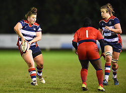 Ellie Mulhearn of Bristol Ladies passes the ball - Mandatory by-line: Paul Knight/JMP - 16/12/2017 - RUGBY - Cleve RFC - Bristol, England - Bristol Ladies v Worcester Valkyries - Tyrrells Premier 15s