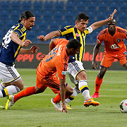 Fenerbahce's Emre Belozoglu (2ndR) and Mehmet Topuz (L) during their Turkish Super League soccer match Istanbul Basaksehir between Fenerbahce at the Basaksehir Fatih Terim Arena at Basaksehir in Istanbul Turkey on Monday, 25 May 2015. Photo by Aykut AKICI/TURKPIX
