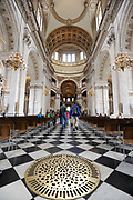 Interior of St Pauls Cathedral in London, United Kingdom. St Pauls Cathedral, London, is an Anglican cathedral, the seat of the Bishop of London and the mother church of the Diocese of London.
