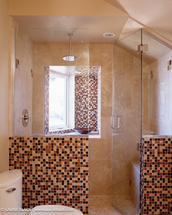 Shower with tile mosaic.