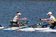 Sarasota. Florida USA. left. AUS PR 1M.  Erik HORRIE and UKR. M1X, Roman POLIANSKYI, congratulate each other after their Sunday Final at the  2017 World Rowing Championships, Nathan Benderson Park<br /> <br /> Sunday  01.10.17   <br /> <br /> [Mandatory Credit. Peter SPURRIER/Intersport Images].<br /> <br /> <br /> NIKON CORPORATION -  NIKON D500  lens  VR 500mm f/4G IF-ED mm. 200 ISO 1/1250/sec. f 7.1