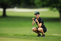 May 26, 2018 - Ann Arbor, Michigan, United States - Madelene Sagstrom of Sweden lines up her putt on the 5th green during the third round of the LPGA Volvik Championship at Travis Pointe Country Club, Ann Arbor, MI, USA Saturday, May 26, 2018. (Credit Image: © Jorge Lemus/NurPhoto via ZUMA Press)