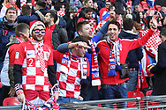 Croatia fans singing prior to kick off during the UEFA Nations League match between England and Croatia at Wembley Stadium, London, England on 18 November 2018.