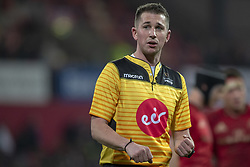 March 23, 2019 - Limerick, Ireland - Referee Dan Jones looks on the big screen during the Guinness PRO14 match between Munster Rugby and Zebre at Thomond Park Stadium in Limerick, Ireland on March 23, 2019  (Credit Image: © Andrew Surma/NurPhoto via ZUMA Press)