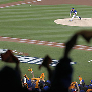 Pitcher Matt Harvey, pitching during the New York Mets Vs Kansas City Royals, Game 5 of the MLB World Series at Citi Field, Queens, New York. USA. 1st November 2015. Photo Tim Clayton