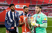 Blackpool's Ellis Simms , Kevin Stewart and Chris Maxwell celebrate with the EFL trophy <br /> <br /> Photographer Andrew Kearns/CameraSport<br /> <br /> The EFL Sky Bet League One Play-Off Final - Blackpool v Lincoln City - Sunday 30th May 2021 - Wembley Stadium - London<br /> <br /> World Copyright © 2021 CameraSport. All rights reserved. 43 Linden Ave. Countesthorpe. Leicester. England. LE8 5PG - Tel: +44 (0) 116 277 4147 - admin@camerasport.com - www.camerasport.com