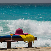 Beach chaise lounge by the sea. Cancun, Quintana Roo, Mexico.