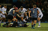 Jamie Bhatti of Glasgow Warriors © jumps over Nick Williams of Cardiff Blues (no8) as he looks for a way through.  Guinness Pro14 rugby match, Cardiff Blues v Glasgow Warriors Rugby at the Cardiff Arms Park in Cardiff, South Wales on Saturday 16th September 2017.<br /> pic by Andrew Orchard, Andrew Orchard sports photography.