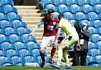 Football - 2020 / 2021 Premier League - Burnley vs. Newcastle United<br /> <br /> Johann Berg Gudmundsson of Burnley takes on Paul Dummett of Newcastle United, at Turf Moor.<br /> <br /> <br /> COLORSPORT/ALAN MARTIN