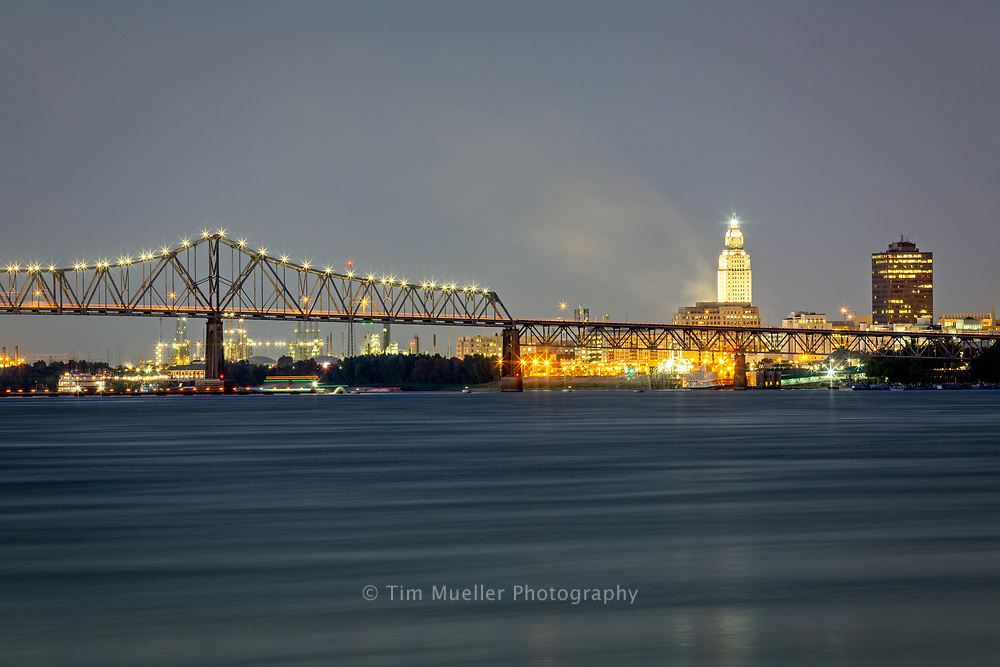 The Louisiana Capitol City, Baton Rouge, sits on the east bank of the Mississippi River.