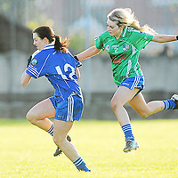 21 November 2010; Majella Griffin, West Clare Gaels, Clare, in action against Aimee Kelly, St Conleth's, Laois. Tesco All-Ireland Intermediate Ladies Football Club Championship Final, West Clare Gaels, Clare v St Conleth's, Laois, McDonagh Park, Nenagh, Co. Tipperary. Picture credit: Diarmuid Greene / SPORTSFILE *** NO REPRODUCTION FEE ***