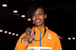 Netherland's bronze medal winner Sifan Hassan after the 1500m Final during day three of the 2018 IAAF Indoor World Championships at The Arena Birmingham.