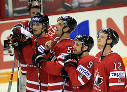 Team Canada (n12 Eric Staa, 9 -Derek Roy, 51-Ryan Getzlafl) at ice-hockey game Canada vs Germany in Qualifying Round Group F, at IIHF WC 2008 in Halifax,  on May 10, 2008 in Metro Center, Halifax, Nova Scotia,Canada. Canada won 11:1. (Photo by Vid Ponikvar / Sportal Images)