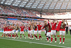 MOSCOW, June 26, 2018  Players of Denmark greet the audience after the 2018 FIFA World Cup Group C match between Denmark and France in Moscow, Russia, June 26, 2018. The match ended in a 0-0 draw. France and Denmark advanced to the round of 16. (Credit Image: © Cao Can/Xinhua via ZUMA Wire)