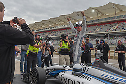 March 23, 2019 - Austin, TX, U.S. - AUSTIN, TX - MARCH 23: Oliver Askew (28) of Andretti Autosport celebrates winning the IndyCar Lights afternoon qualifications at Circuit of the Americas on March 23, 2019 in Austin, Texas. (Photo by Ken Murray/Icon Sportswire) (Credit Image: © Ken Murray/Icon SMI via ZUMA Press)
