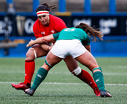 Siwan Lillicrap of Wales under pressure from Claire McLaughlin of Ireland <br /> <br /> Photographer Simon King/Replay Images<br /> <br /> Six Nations Round 5 - Wales Women v Ireland Women- Sunday 17th March 2019 - Cardiff Arms Park - Cardiff<br /> <br /> World Copyright © Replay Images . All rights reserved. info@replayimages.co.uk - http://replayimages.co.uk