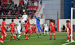 Republic of Ireland's Shane Duffy wins a header in front of the Gibraltar goal during the UEFA Euro 2020 Qualifying, Group D match at the Victoria Stadium, Gibraltar.