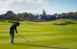 Auchterarder, Scotland, UK. 15 September 2019. Sunday final day at 2019 Solheim Cup on Centenary Course at Gleneagles. Pictured; Megan Khang of USA hits approach shot to the 18th green. She won the hole to draw the match with Charley Hull. Iain Masterton/Alamy Live News