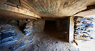 Interior chamber of a northern Sahara burial tumuli in the hills 20km east of Taouz, Morocco