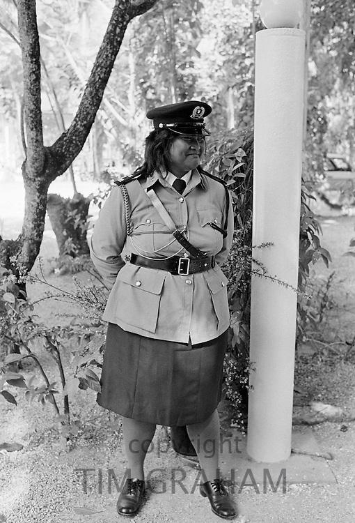 Policewoman on duty in Nauru, South Pacific