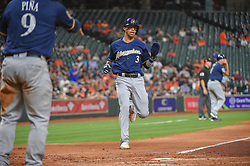 March 26, 2018 - Houston, TX, U.S. - HOUSTON, TX - MARCH 26: Milwaukee Brewers infielder Orlando Arcia (3) scores in the top of the third during the game between the Milwaukee Brewers and Houston Astros at Minute Maid Park on March 26, 2018 in Houston, Texas. (Photo by Ken Murray/Icon Sportswire) (Credit Image: © Ken Murray/Icon SMI via ZUMA Press)